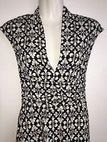 White House Black Market Dress sz 4 Cap Sleeve V Neck Ruched Waist Side Zip
