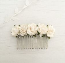 White Paper Rose Vintage Hair Comb - Flower Girl - Bride - Bridesmaid