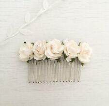 White Paper Rose Vintage Hair Comb - Flower Girl - Bride - Bridesmaid