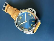 Custom built blue dial 47mm sterile Panerai Luminor homage watch