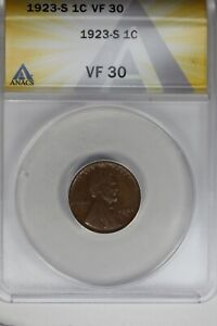1923-S   .01   ANACS   VF 30    Lincoln Head Cent, Lincoln One Cent