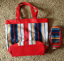 BRAND NEW - Bright Multi-Colored Tote w/matching Cosmetic Bag