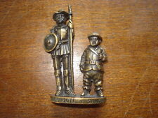 "BRONZE MINIATURE FIGURINE DON QUIXOTE/SANCHO LA  MANCHA 2-5/8"" MINIATURE RARE"