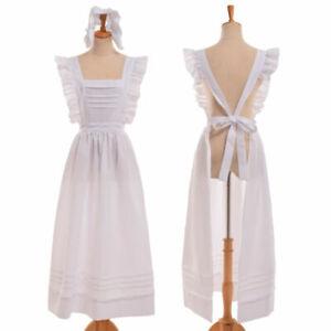 Victorian Edwardian Maid Apron Unique Housekeeper Servant Walking Cosplay Dress