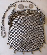 Antique Art Nouveau Woman German Silver Repousse Floral Frame Chain Mail Purse