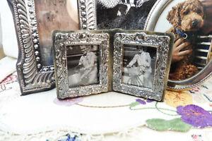 Vintage Hallmarked St Silver Miniature Double Photo Frame London 1988 John Bull