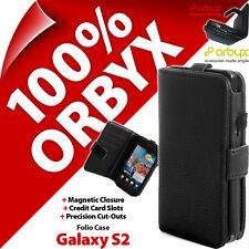 Orbyx Étui Folio pour Samsung i9100 Galaxy S2 Portefeuille Housse Clapet Cuir PU