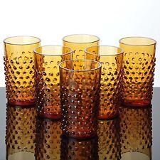 6 Becher Gläser Noppen orange Glas Nuppen Bubbles Warzen Art Glas Saftgläser
