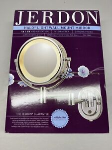 Jerdon 15 in. L x10 in. W Lighted Wall Makeup Mirror in Chrome