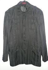VITALIANO BLACK Stripe Blazer Jacket 44L/38W Jacket Coat Super 150s Cloth