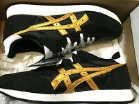 BNIB Asics Tarther Black Pure Gold Low Top Trainers Sneakers UK 8