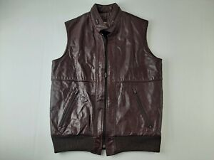 Vintage SEARS Leather Shop Men 40 Long Brown Motorcycle Vest Hooded Argentina N3