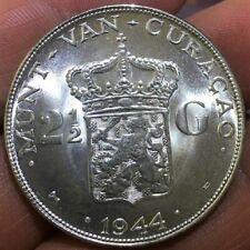 1944  NETHERLANDS  CURACAO SILVER 2 1/2 GULDEN
