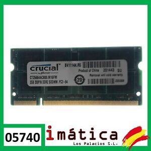 MEMORIA RAM CRUCIAL PARA PORTÁTIL 2GB DDR2 PC2 6400 REPUESTO FUNCIONAL