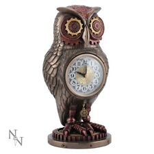 Nemesis Now Bronzed Effect Owl Tick Toot Clock 27cm Steampunk Ornament Figure
