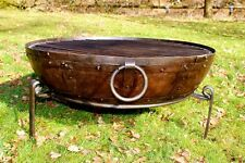 80cm Hand Worked Wrought Iron Indian Fire Bowl / Fire Pit (Kadai Style)