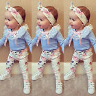 Newborn Baby Girls Lace Tops T-shirt + Floral Pants hair Headband Outfits set