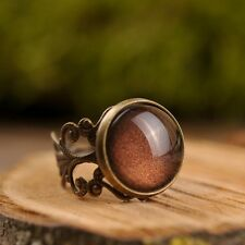 Brown handmade ring, filigree ring, adjustable statement ring, antique brass