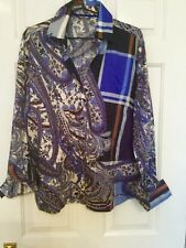 100% Eco cotton German shirt blouse cobalt blue tan paisley  size 18