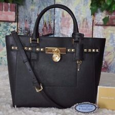 NWT MICHAEL KORS HAMILTON TRAVELER STUD LG. Satchel Tote Bag BLACK Leather $498
