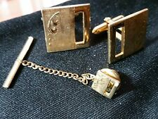 Vintage Swank Cuff Links & Tie Tack Set Cut-Out Square Etched Flourish Gold-Tone