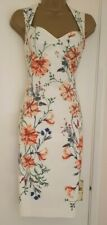 Karen Millen White (Off white) Floral Body-con Pencil Dress UK Size 10