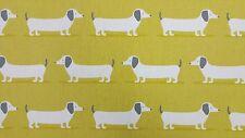 Fryetts Hound Dog Ochre Curtain Upholstery Craft Designer Cotton Fabric