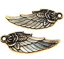 50Pcs. WHOLESALE Tibetan Antique Copper ANGEL Wing w/ Rose Flower Charms Q0256