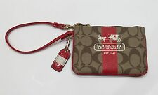 NWT Coach Zip Wristlet Wallet Khaki/Brass/Geranium Strip Signature F40960 BKHGU
