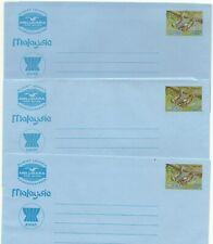 MALAYSIA: 3 Aerogrammes 40c.Sloth+Asean(blue /(back: touristic views) /1983-4/m