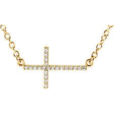 Diamante LATERAL CRUZ 40,6 -45 , 7cm Collar en 14k ORO AMARILLO ( 1/8ct. TW