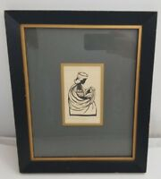 "Mother and Child Art Print Black & White 5.5""x3.5"" Framed Matted"