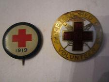 1919 RED CROSS LAPEL PIN & ENAMEL AMERICAN RED CROSS VOLUNTEER -NICE -TUB BBA-2