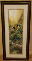 Charles D. Rogers Original Watercolor Painting Signed Framed Matted Glass Birds