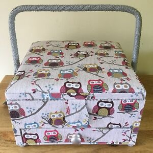 FABULOUS SEWING BOXES BASKETS Large with Storage Space and Drawer 'HOOT' DESIGN
