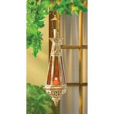 "Moroccan 23"" tall amber teardrop hanging Lantern Candle holder terrace patio"