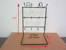 """Tabletop wire rack display (coated 12.5""""x8.5""""x6 34;) with 12 - 4.25"""" pegs"""