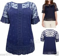 New Ex M&Co Navy Blue Crochet Panel Mesh Lace Short Sleeve Top & Cami Size 10-20