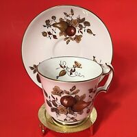 ROYAL CHELSEA CUP & SAUCER VINTAGE DEMITASSE FRUIT GOLD DESIGNS & TRIM ENGLAND