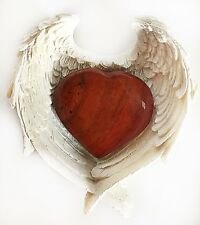 REIKI CHARGED RED JASPER CRYSTAL HEART IN ANGEL WINGS DISH GIFT WRAPPED