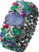 Carved Sapphire Blue 925 Sterling Silver Tutti Frutti Statement Women's Bracelet