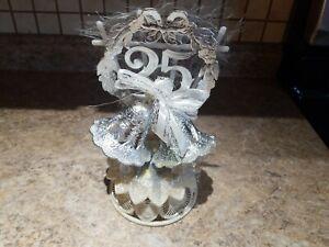 Vintage Anniversary Cake Topper Wedding Bells Silver 25th Ribbon Heart Lattice