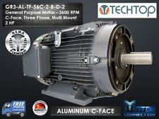 2 HP Electric Motor, GEN PURP, 3600 RPM, 3-Phase 56C, Aluminum, NEMA Premium