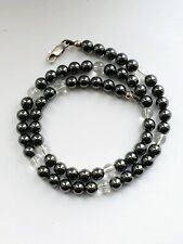"17"" Sterling Silver Clasp & Hametite Beaded Necklace"