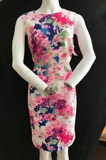 BNWT DKNY Pink Floral Printed Scuba Sheath Dress Created For Macys Size 10 UK 14