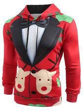 Men'S Christmas Hoodies Faux Suit Print Sweater Sweatshirt Jacket Coat Pullover
