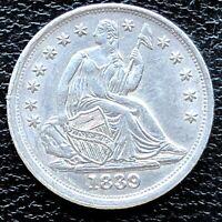 1839 Seated Liberty Half Dime 5c High Grade AU - UNC Det. #18720