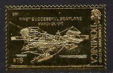 2779 Dominica 1978 HISTORY of AVIATION in GOLD FOIL - FIRST SEAPLANE  u/m