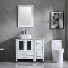 36'' White Bathroom Modern Mirror Vanity Cabinet Sink Combo w/Faucet Indoor