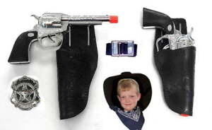 Kids Western Cowboy Gun & Holster Set with Sheriff Badge, Belt  & Bandana (blk)